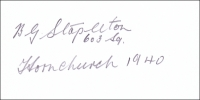 STAPLETON, B.G. - Pencil Signature