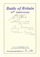 BATTLE OF BRITAIN 65th ANNIVERSARY BOOKPLATE