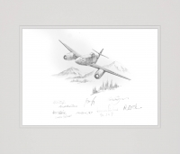 Me262 JG7 by Nicolas Trudgian (Original Pencil Drawing signed by Luftwaffe pilots)