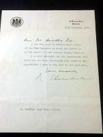 1937 NEVILLE CHAMBERLAIN LETTER- signed