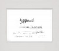 Fw190 RED 1 JG300 by Nicolas Trudgian (Original Pencil Drawing signed by Luftwaffe pilots)