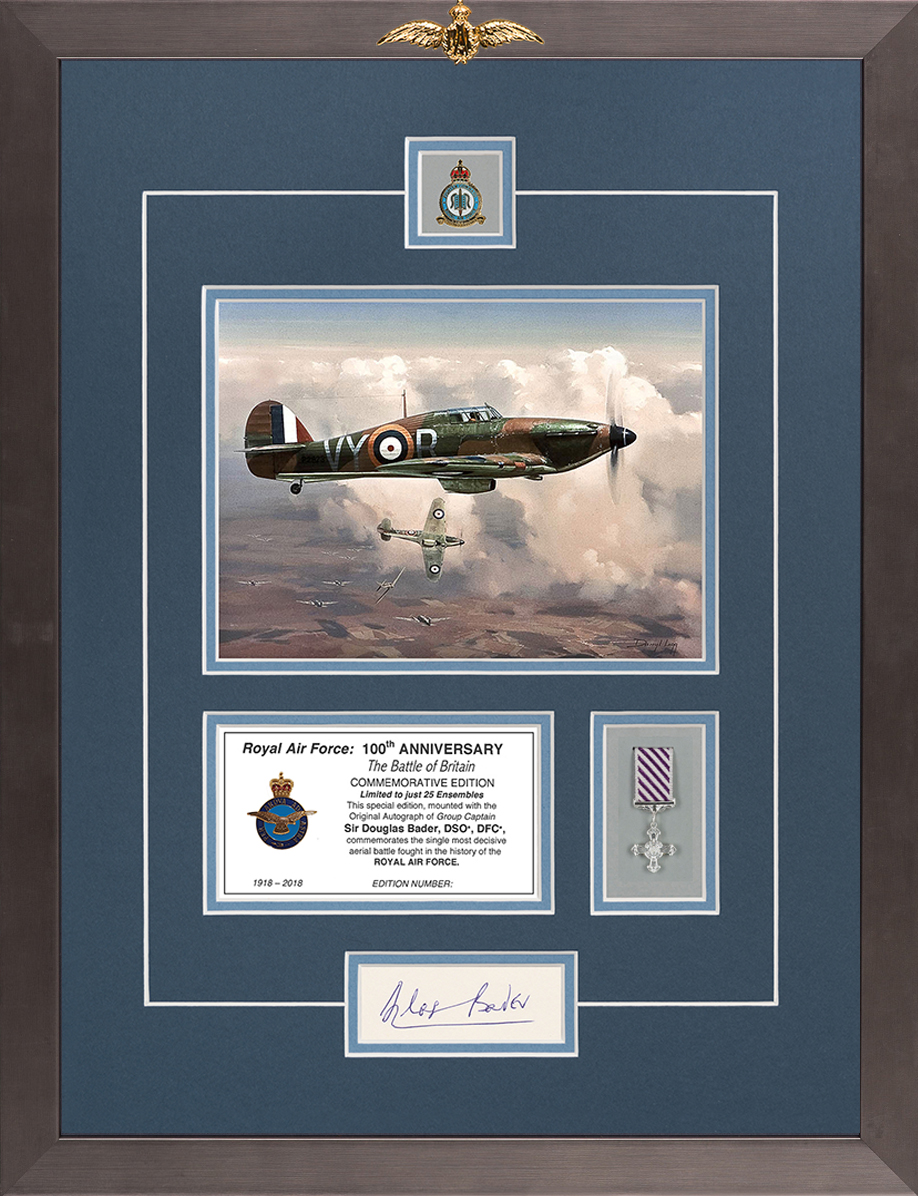 Limited edition mounted original signature display signed by Douglas Bader