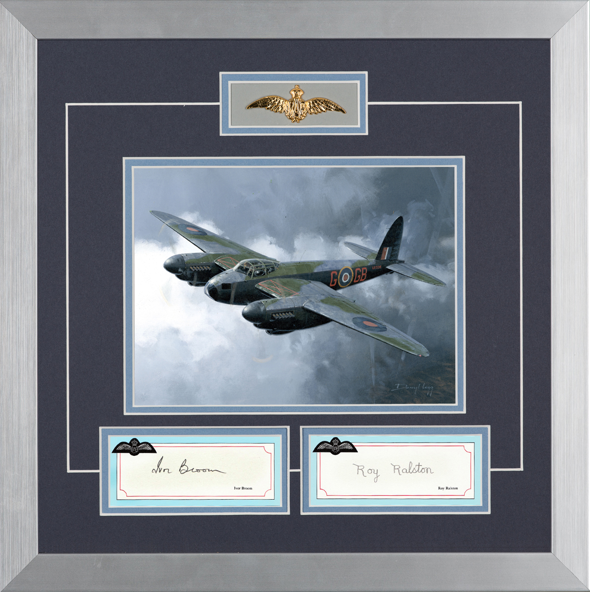 Limited edition mounted original signature display signed by RAF Mosquito pilots
