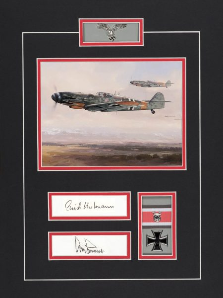 Limited edition mounted original signature display signed by Luftwaffe pilots