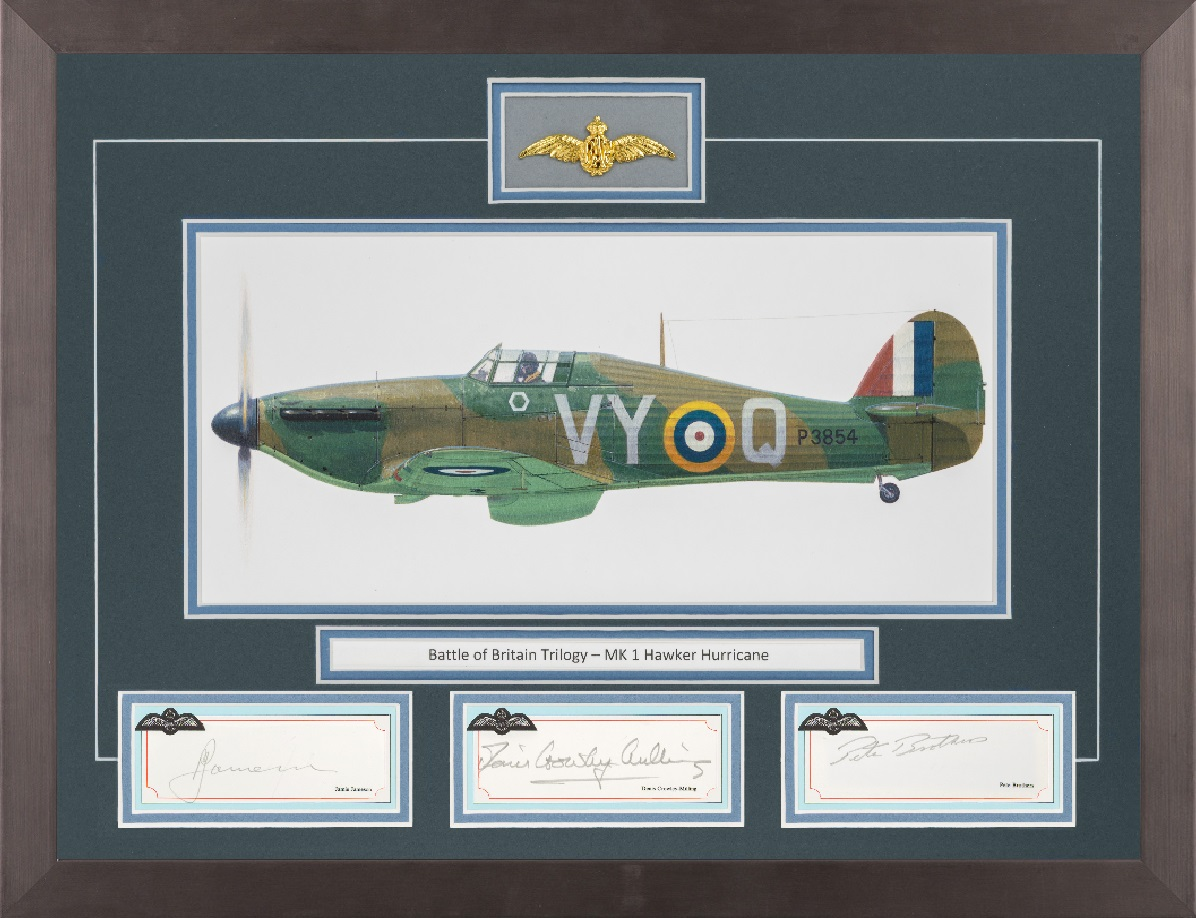 Limited edition mounted original signature display signed by Battle of Britain pilots