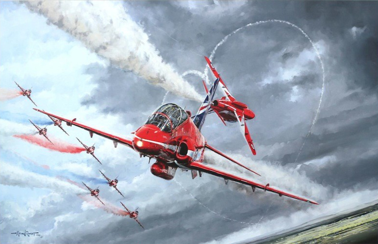 Limited edition fine art print signed by RAF Red Arrows pilots